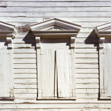 Shuttered Windows of Ghost Town School House  Silver City  Idaho  USA