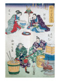 Eating and Cooking  Theatre Scenes  Series of Kabuki Theatre  Ukiyo-e Print  19th century