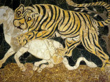 Tigress Attacking a Calf  Opus Sectile (Marble Inlay) Panel  4th century AD Roman