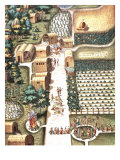 Kitchen Gardens and Town of Secota  Virginia  engraving by Theodore de Bry  1528-98