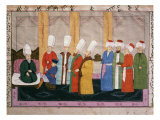 European Ambassador at the court of Topkapi Palace  Ottoman Minature  17th century