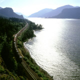 Freight Train Traveling Along Columbia River  Columbia River Gorge  Oregon  USA