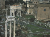 Roman Forum in Rome  with Arch of Emperor Septimius Severus  146-211