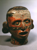 Human Head  Vessel  Painted Ceramic  from Valley of Oaxaca  Mexico