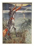 Sir Bedivere casts sword Excalibur into the Lake  from &#39;Stories of Knights of Round Table&#39;