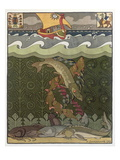Bogatyr Volga Transforms himself into a Pike  illustration for the Russian Fairy Story  'The Volga'