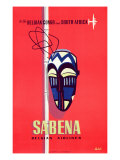 Advertising Sabena Belgian Airlines  printed at Litho Linsmo  c1955