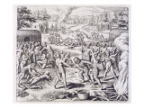 Battle Between Tuppin Tribes  from &#39;Newe Welt und Americanische Historien&#39;