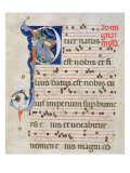 Page with Historiated Initial 'P' Depicting the Nativity  from a Gradual from the Monastery of San