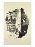 Illustration for 'The Raven'  by Edgar Allen Poe  1875