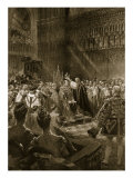 Coronation Ceremony of 1902: King Edward VII During Act of Crowning  'The Illustrated London News'