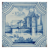 Delft Tile Showing a Drawbridge over a Canal  19th century