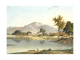 View at Nijeibabad  near the Coaduwar Gaut  Rohilcund  plate XIII from Part 6 of 'Oriental Scenery'