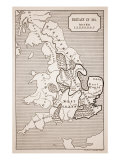 Map of Britain in 593  Printed by Stanford&#39;s Geographical Establishment