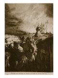 Blazing Farm Buildings in Flanders Set Alight by German Shell Fire  1914-19