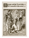 Denneys and Hermit Help Him to Armor  Illustration  'The Story of Sir Launcelot and His Companions'
