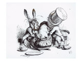 Mad Hatter  March Hare and Dormouse in Teapot  Illustration  'Alice's Adventures in Wonderland'