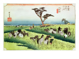 Horse Fair  Ciryu  from the series '53 Stations of the Tokaido Road  published 1833-34