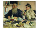 Leo Tolstoy with His Wife in Yasnaya Polyana  1907