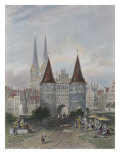 Holsten Gate at Lubeck  Engraved by John Godfrey