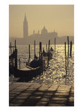 The Molo with Gondolas  View at Dawn Towards San Giorgio Maggiore
