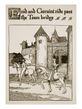 Enid and Geraint Ride Past Bridge  Illustration  'The Story of Grail and the Passing of Arthur'
