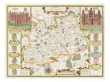 Map of Surrey  engraved by Jodocus Hondius