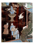 Screen Called 'Coromandel' with Scenes from Life in Forbidden Town of Peking: Dignitaries in Garden