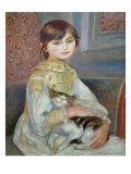 Portrait of Julie Manet or Little Girl with Cat Giclée par Pierre-Auguste Renoir