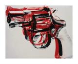 Pistolet, vers 1981-82 (noir et rouge sur blanc) Giclée par Andy Warhol