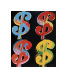 Four Dollar Signs  c1982 (blue  red  orange  yellow)
