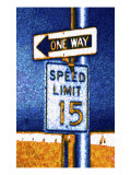 One Way and Speed Limit Sign