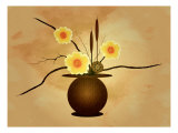 Three Yellow and Red Flowers in Vase with Cattail and Lotus Flower