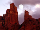 Red Rock with Moon and Sun