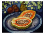 Assorted Fruit  Papaya  Plum  Pear Presented on Blue Platter Covered with Ivy