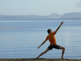 Morning Yoga Practice on the Shore of Lake Taupo  New Zealand
