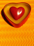 A Love Stone Heart with Yellow Background