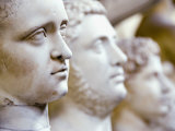 Close-Up of Statue Faces on a Shelf in the Vatican  Rome  Italy
