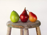 Still Life of 3 Pears on a Milk Stool Papier Photo par Diane Miller