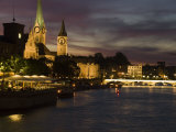 Twilight View across the River Limmat Toward Downtown Zurich