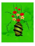 Floral Arrangement in Vase on Which a Snake Is Coiled