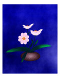 Pink Flower in Vase on Blue Background