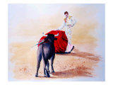 Matador Holds Red Cape Up to Bull