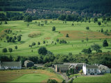 Elevated View of a Golf Course Near a Scottish Village