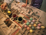 Mother Dyes Easter Eggs with Her Daughter at their Home in Nebraska