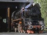 Polish National Railways Locomotive Ol49-111 Prepares to Exit Roundhouse
