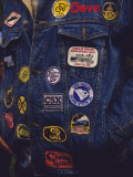 Man&#39;s Denim Jacket Covered with Railroad Related Patches