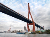 Yangpu Bridge Seen from the Huangpu River in Shanghai  China