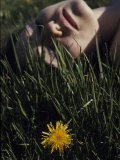 Woman Rests in the Sun in Grass Next to a Dandelion