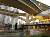 Overlapping Lanes of the Yan&#39;An Elevated Highway in Shanghai